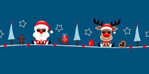 Wall Mural - Banner Santa Und Rentier Sonnenbrille Weihnachten Icons Dunkelblau