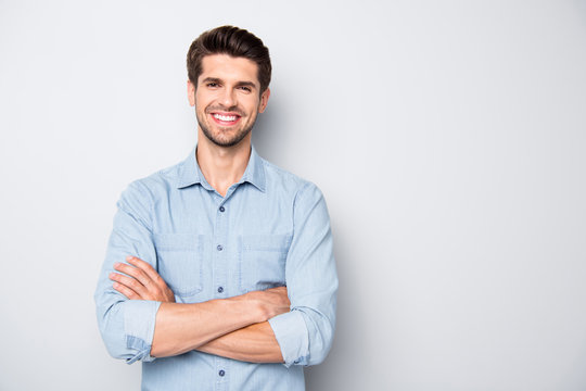 Portrait of positive cheerful reliable freelancer feel success in university college education learning real expert wear casual style clothes isolated over grey color background