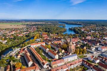 Aussicht auf die Altstadt von Templin in der Uckermark, Land Brandenburg im Herbst