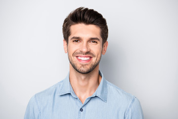 Close up photo of charming guy entrepreneur feel content look listen have fun with his family wear denim jeans clothes isolated over grey color background