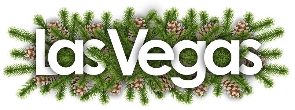 Las Vegas in christmas background - pine branchs