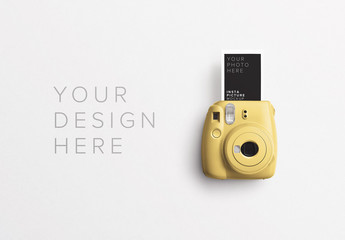 Instant Camera with Photo Mockup