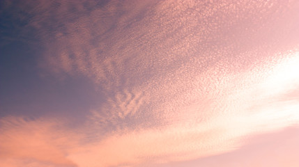 Beautiful pink-blue sky at sunset or dawn. Abstract background, sky texture