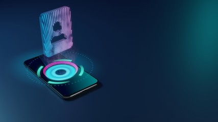 3D rendering neon holographic phone symbol of portrait icon on dark background