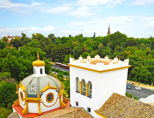 Skyline of Seville Spain seen from the Argentina Pavilion built for the 1929 Ibero-American Exhibition
