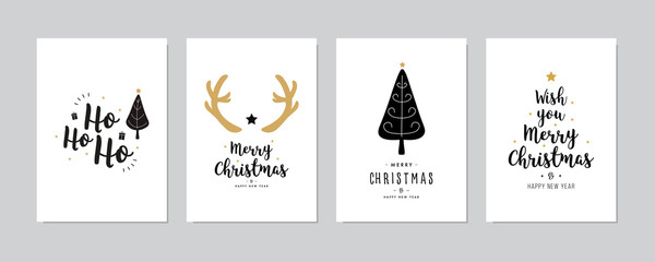Wall Mural - Set of christmas and happy new year greeting cards with lettering calligraphy decorative ornament elements.