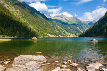 Alpine mountain lake Riesachsee near Schladming in Austria