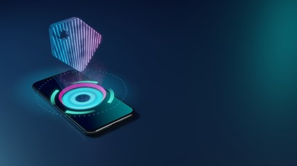 3D rendering neon holographic phone symbol of tag icon on dark background