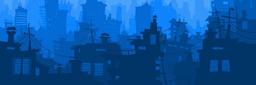 cartoon blue city panoramic background with different houses