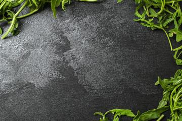 arugula, healthy salad, greens (delicious snack, healthy diet) menu concept. food background. copy space. Top view