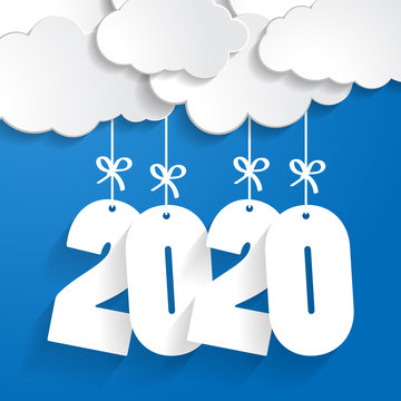 white paper clouds with numbers 2020 of coming year hanging on strings with bows on blue background