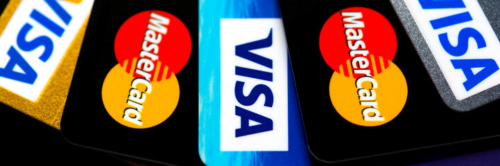 Plastic cards VISA and  Mastercard