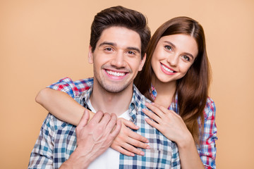 Close up photo of cheerful positive cute couple of two white people smiling toothily loving each...