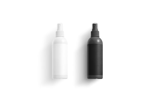 Blank black and white deodorant bottle mock up, top view