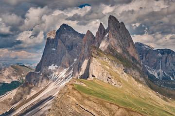 The landscape around the top of Seceda peak, Dolomites, Italy