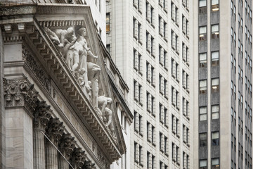 Detail of the New York Stock Exchange building on Wall Street in New York City.
