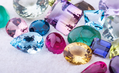 Collection mix colorful of gemstones jewelry.