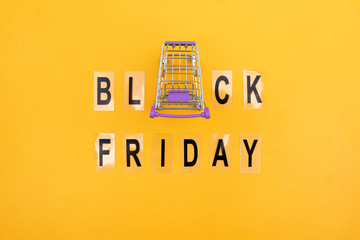 Shopping basket and the inscription black friday on an orange background.