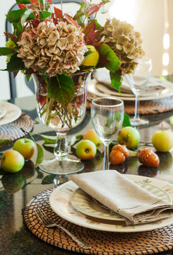 Autumn table decoration. Thanksgiving table setting with autumn decorations
