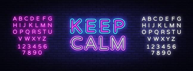 Keep Calm Neon Text Vector. Keep Calm neon sign, design template, modern trend design, night signboard, night bright advertising, light banner, light art. Vector illustration. Editing text neon sign