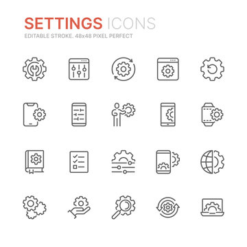 Collection of setting and options related line icons. 48x48 Pixel Perfect. Editable stroke