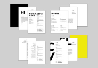 Black and Yellow Resume and Cover Letter Set with Bold Text Elements