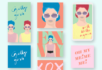 Bright Social Media Post Set with Illustration Elements