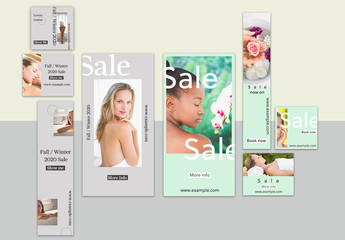 Gray and Mint Green Web Banner Set
