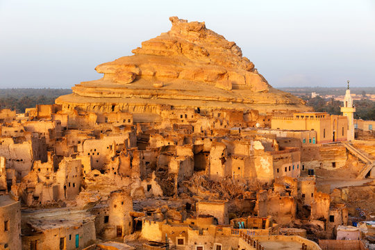 View of the ruins of the Shali fortress in the Siwah oasis in the Sahara desert in Egypt