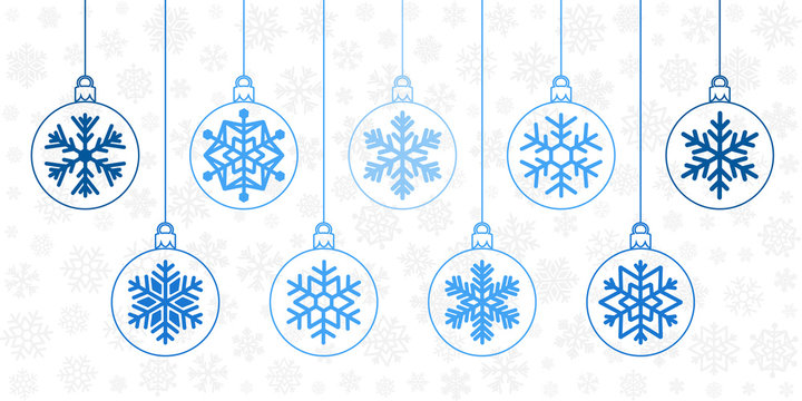 Christmas ornaments collection. Winter holiday design elements. Balls with snoflake decoration.