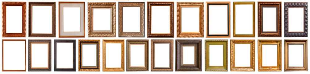 Collection of golden picture frames isolated on white background set