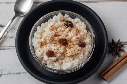 Peruvian rice with milk dessert with cinnamon, Traditional sweet food.  Arroz con leche.