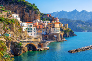 Atrani town on Amalfi coast, Sorrento, Italy