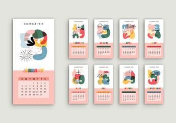 Colorful Illustrative Calendar Layout