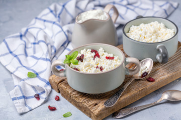 Organic farm cottage cheese in a ceramic bowl.