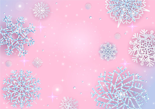Christmas lights Holiday New year Abstract Glitterbackground with Blurred Bokeh and Silver glittering Snowflakes Christmas glowing Banner