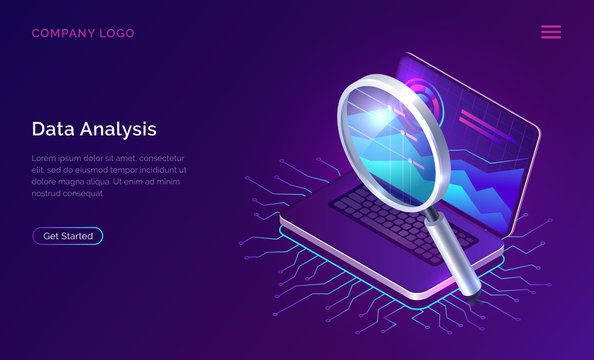Data analysis, search engine optimization or SEO isometric concept vector illustration. Large magnifier and open laptop with charts and graphs on the screen, business technology ultraviolet banner