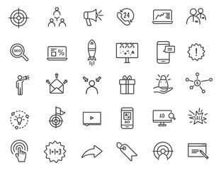 Obraz Set of linear advertising icons. Marketing icons in simple design. Vector illustration - fototapety do salonu