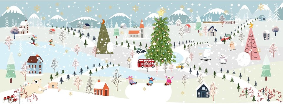 Panorama Winter landscape, Christmas and new year celebrated in the city,Vector of horizontal winter wonderland in the town with happy kids and polar bear sledding and couple with skiing in the park