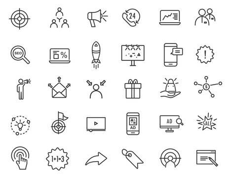 Set of linear advertising icons. Marketing icons in simple design. Vector illustration