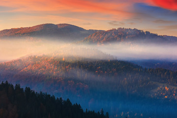 foggy dawn in mountains. fantastic nature scenery in fall season. glowing mist above the hills. magic moment in autumn