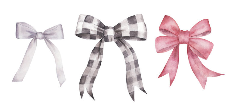 Watercolor set of isolated colorful  bows on white background. Ribbons collection. Hand drawn sketch illustration