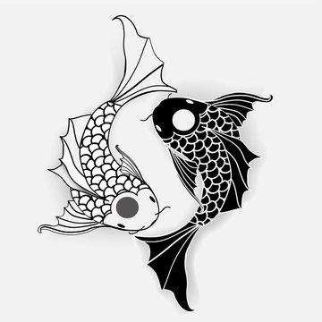 Yin yang symbol with koi fish.