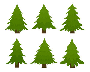 Set of spruces. Fir trees isolated on white background. Vector illustration.