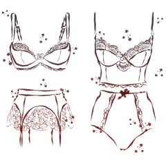 set watercolor and ink underwear illustration