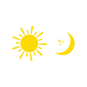 Day and Night sign with sun, stars and moon. Vector illustration