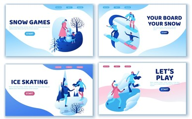 Winter sports landing page template set, snowboard, people together, ui design layout, ice skating simple family, isometric minimal people illustration, vector sport, skating rink, tubing