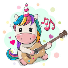 Cartoon Unicorn with colorful hair is playing guitar