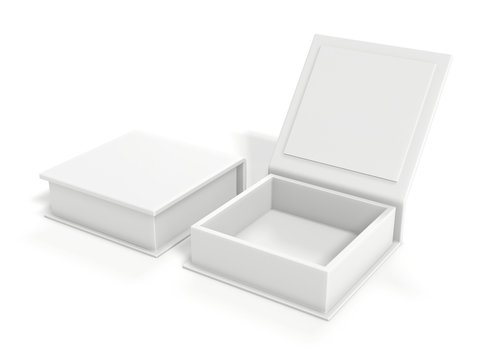White blank cardboard box isolated on white background. Mock up template. 3d rendering.