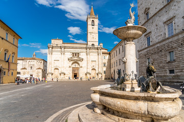 The Cathedral of St. Emidio and the Baptistery of San Giovanni in Arringo Square of Ascoli Piceno, Italy. Fototapete